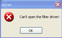 Can't open the filter driver